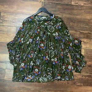 JODIFL Boutique Boho Floral Bell Sleeve Top